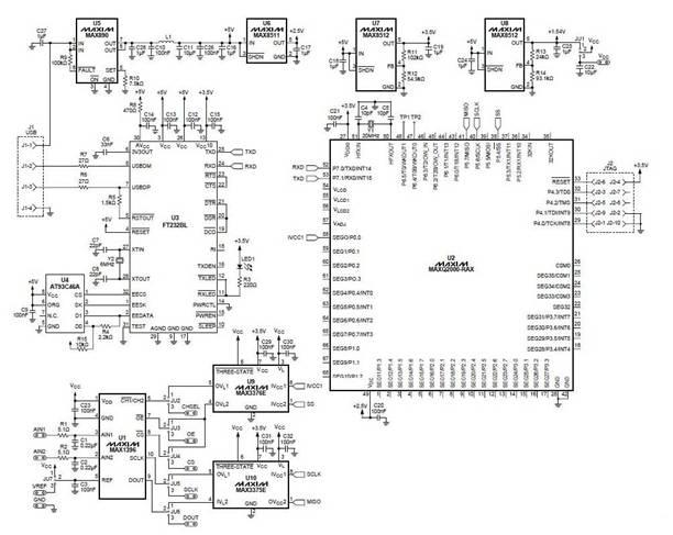 引言 该参考设计提供了一个创建基于PC的温度测量系统的方案,用于*估信号调理器MAX6603。该设计采用两块*估(EV)板:MAX1396EVKIT 和MAX6603EVKIT,并给出了简单易用的软件程序。 MAX6603能够通过两个铂热敏电阻将环境温度转换为电压信号。MAX1396EVKIT 将MAX6603EVKIT输出的模拟电压信号转换成数字信号。之后,MAX1396EVKIT 将数据传输给PC。软件将接收到的数据转换成温度值显示在屏幕上。 测试装置 MAX6603 MAX6603为双通道、铂电阻、