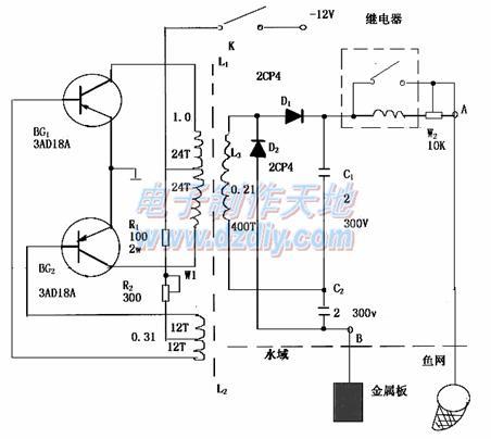 简单电子捕鱼器电路图12v powe-电子电鱼器电路图图片大全 捕鱼器脉图片